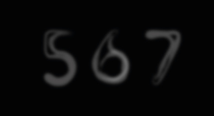 Smoke alphabet font. Numbers 5-7