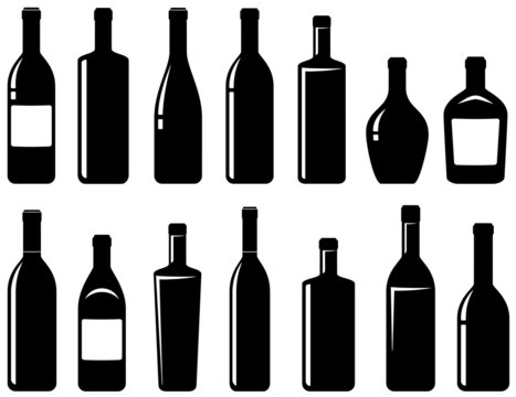 set of glossy wine bottles