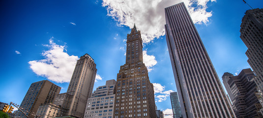 Beautiful skyline and buildings of Manhattan - New York City str