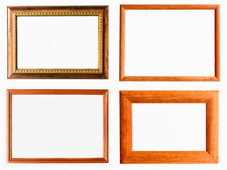 Vintage Photo Frame, Wood Plated, White Background.