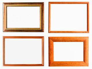 Vintage Photo Frame, Wood Plated, White Background.