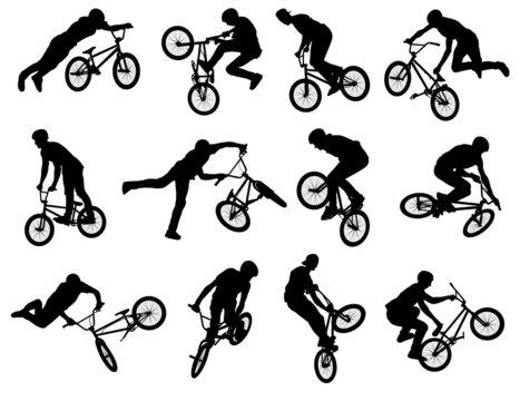 12 bmx stunt silhouettes - vector