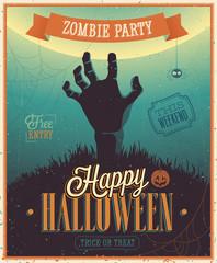 Wall Mural - Halloween Zombi Party Poster. Vector illustratoin.