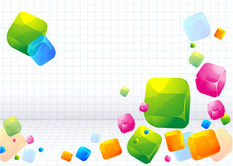 Color abstract with transparent cubes. Vector background.