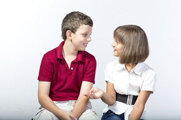 Kids are talking happily