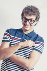 Portrait of a man with nerd glasses n studio fun