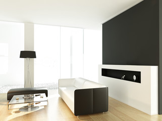modern white living room with huge windows