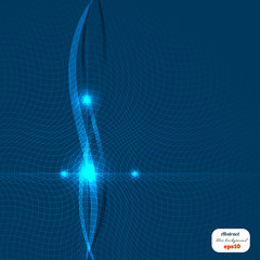 Abstract blue background with waves of light