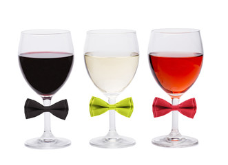 Three glasses of wine and bow tie.