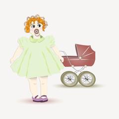 Little girl and pram