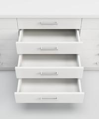 Fototapeta cupboard with opened drawers obraz
