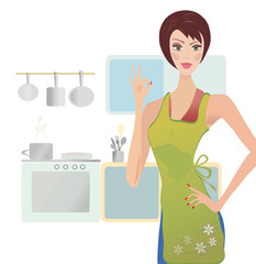 Woman Showing Ok Sign in her Kitchen