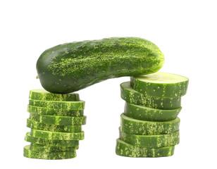 Gate of chopped cucumber.