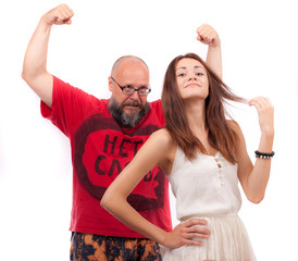 The bearded man and a young girl on a white background.