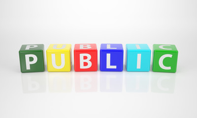 Public out of multicolored Letter Dices