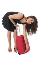 Young Woman Doing Up a Suitcase