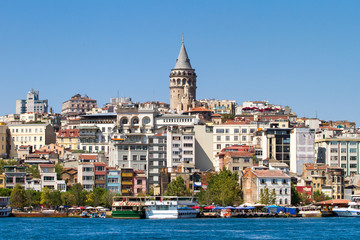 Beyoglu district historic architecture and medieval Galata tower