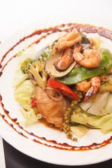 Thai stir fried seafood with Thai herb.