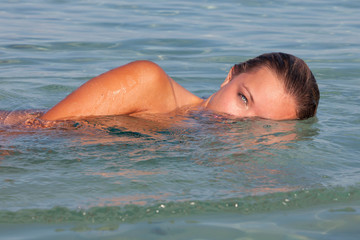 healthy woman swimming