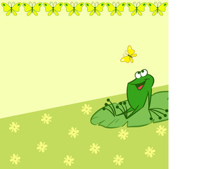 Pattern with cartoon frog and butterfly