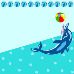 Deurstickers Dolfijnen Pattern with cartoon dolphin