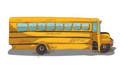 Isolated Back to school bus education cartoon illustration.