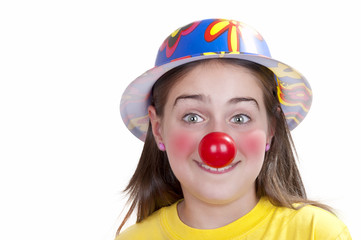 Colorful dressed child, holiday clown