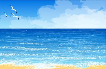 Blue ocean. Vector template.