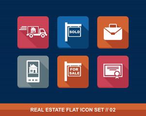 Real estate flat icons set.