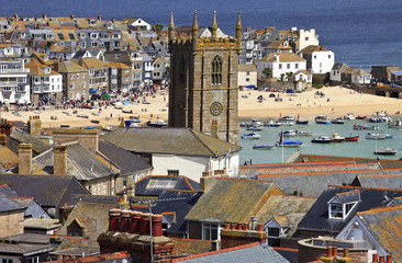 Roof top view of the harbour at St. Ives Cornwall, England