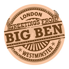 Stamp with text Greetings from Big Ben, London, vector