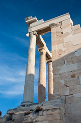 The North portico of the Erechtheion on Acropolis of Athens.