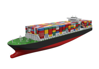 Cargo Container Ship Isolated