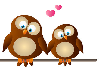 Cute cartoon owls in love