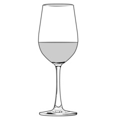 glass of wine outline vector