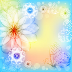 Elegant colorful background with flowers and butterflies