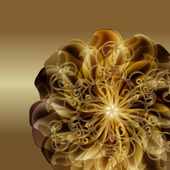 Gold background with a flower and a monogram