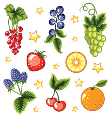 Set of summer fruits and berries.