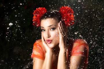 Beauty Brunette Girl. Water Splash