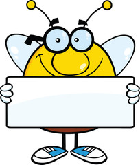 Smiling Pudgy Bee Cartoon Mascot Character Holding A Banner
