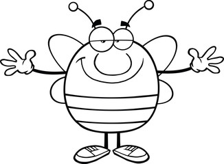 Black And White Pudgy Bee Character With Open Arms For Hugging