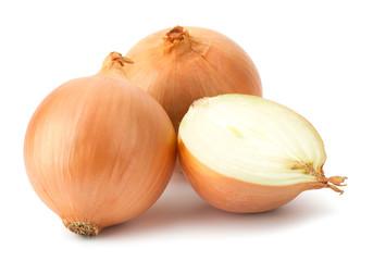 Fototapeta Fresh bulbs of onion on a white background obraz