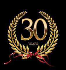 30 years Anniversary golden laurel wreath