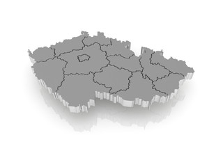 Three-dimensional map of Czech.