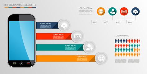 Infographic mobile diagram icons illustration.