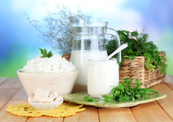 Fresh dairy products with greens