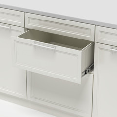 opened empty white drawer