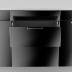 opened empty black drawer