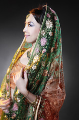 beautiful indian woman wearing bridal outfit