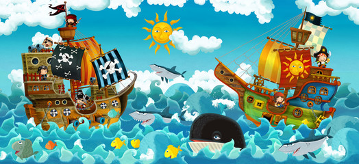 The pirates on the sea - battle - illustration for the children